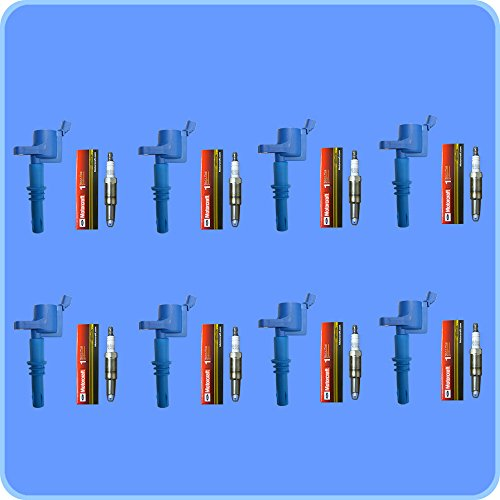 Set of 8 Motorcraft Spark Plugs SP-515 PZH14F + 8 ADP Ignition Coils For 2005 2006 2007 2008 Ford F150 F-150 GDG511 GD511 FD508 (2008 F150 Spark Plugs compare prices)