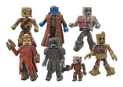 Guardians of The Galaxy Minimates Series 57 Complete Set of 7 Mini Figures: Star-Lord, Ronan, Drax, Rocket, Groot & Exclusive Yondu & Sakaar Trooper