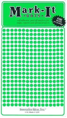 """Map Dot Stickers - Green - 1/8"""" Diameter"""