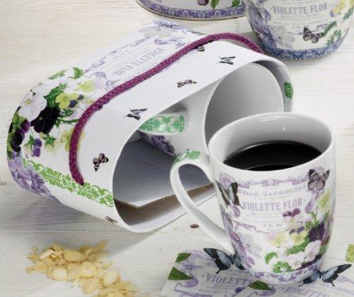 Paperproducts Design 602066 Gift Box Porcelain Mugs, 14-Ounce, Vintage Violets, Set Of 2