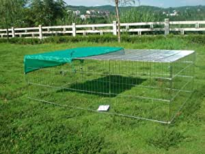 Outdoor Rabbit Run Cage Pen with Sun Protection Net Cover, 72-inch, Black/ Silver Rectangle