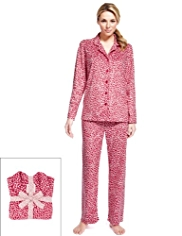 Revere Collar Heart Design Fleece Pyjamas