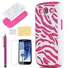Pandamimi ULAK Pink White Zebra Combo Hard Soft High Impact Samaung Galaxy s3 i9300 Armor Case Skin Gel with free screen protector + stylus