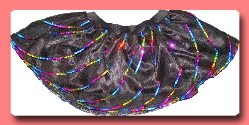 Black Multi Rainbow Twister Sequins Tutu Skirt