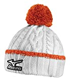 New 2015 Mizuno Cable Knit Bobble Beanie/Hat, COLOR: White/Orange