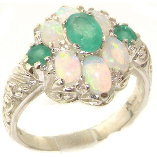 Spectacular Solid Sterling Silver Natural Emerald and Very Fiery Opal Art Nouveau Style Ring - Size 11.75 - Finger Sizes 4 to 12 Available - Suitable as an Anniversary ring, Engagement ring, Eternity Ring, or Promise ring