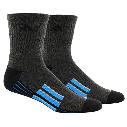 Adidas Men's Climalite X Ii Mid-Crew Socks (2 Pack), Black Graphite Marl/Solar Blue/Light Onix, One Size