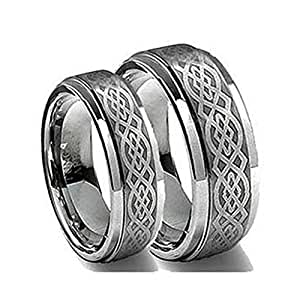 Amazoncom his her39s 8mm 6mm tungsten carbide wedding for Tungsten carbide wedding ring sets