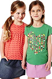 2 Pack Pure Cotton Heart & Swirl Print T-Shirts