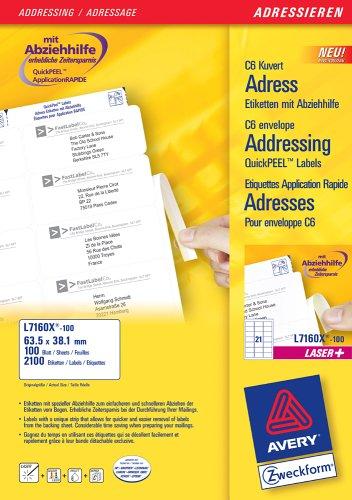 Avery zweckform l7160X - 100 100 feuilles d'étiquettes d'adresse pour enveloppes c6 avec abziehhilfe 63, 5 x 33,9 mm