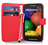 Excellent Accessories® Motorola Moto E - Red Exclusive Leather Easy Clip On WALLET / FLIP Case / Cover / Pouch With Card Holders + Free Clear Screen Protector + Polishing Cloth + Touch Screen Stylus Pen