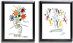 Dance of Youth and Petite Fleurs by Picasso 2-pc Black-Framed Canvas Set (Ready-to-Hang)