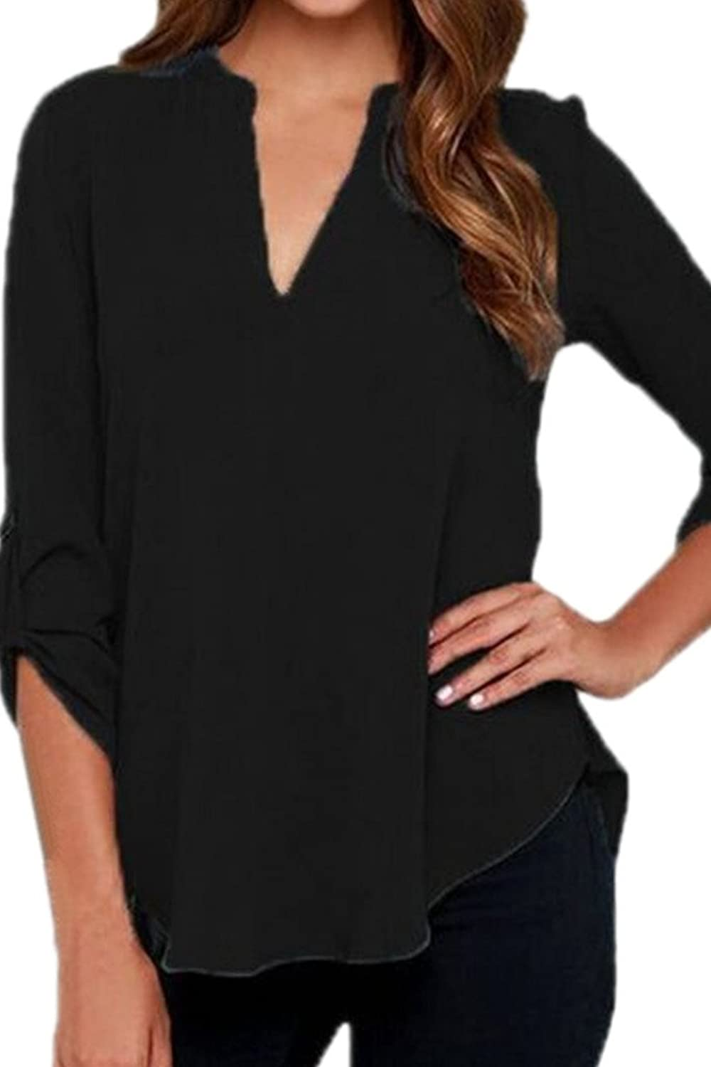 Womens Blouses Chiffon Solid Loose Casual Cuffed Sleeve V Neck Shirt