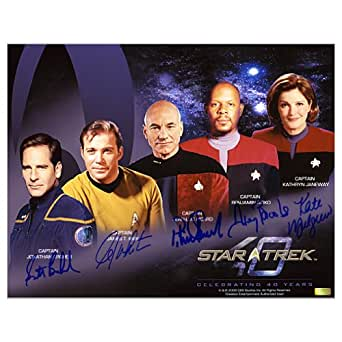 Star Trek Cast Autographed 11x14 Horizontal Captains Photo William Shatner