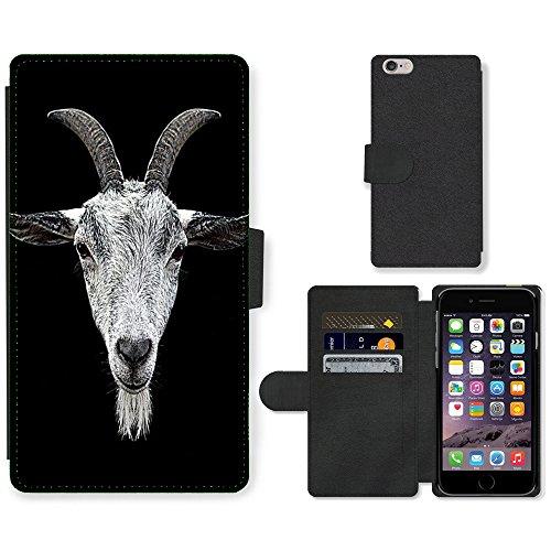 """PU Cuero Flip Caso Cubierta Carcasa Case Cover // M00148264 Corna di capra Testa Occhi Coat Barba // Apple iPhone 6 PLUS 5.5"""""""