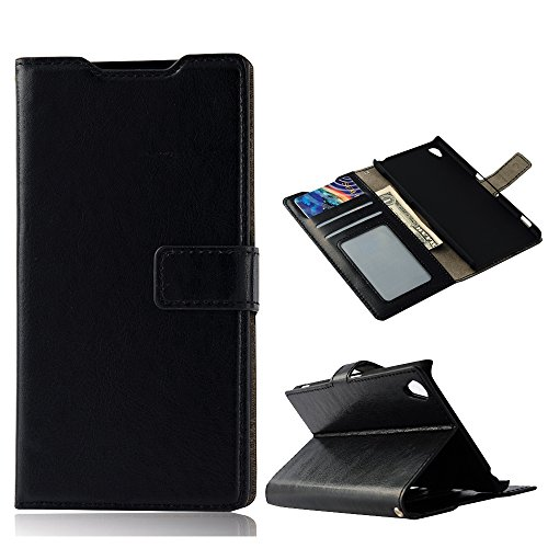 Z3 Case, Sony Xperia Z3 Case - Mollycoocle Fashion Style Colorful Wallet Style Credit Card Holder Case Magnetic Design Flip Folio Pu Leather Cover Standup Cover Case For Sony Xperia Z3(Black)