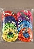 100 Bright coloured THIN hair elastics bobbles for girls hair and ladies hair accessory