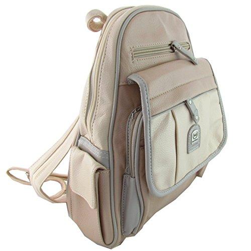 Damen Leder Rucksack/Tasche City Bag Creme farbende Töne