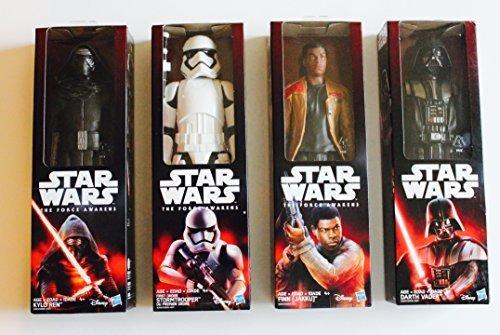 Star Wars The Force Awakens Set of four 12 inch bendable figures, includes; FIRST ORDER STORMTROOPER, FINN (JAKKU), KYLO REN, & DARTH VADER