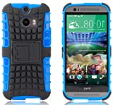 myLife Ocean Blue + Grey {Rugged Design} Two Piece Neo Hybrid (Shockproof Kickstand) Case for the All-New HTC One M8 Android Smartphone - AKA, 2nd Gen HTC One (External Hard Fit Armor With Built in Kick Stand + Internal Soft Silicone Rubberized Flex Gel Full Body Bumper Guard)