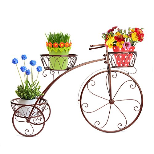 Dazone Bronze Vintage Parisian Style Tricycle 3 Tier White Metal Planter Display Stand / Flower Pot Holder / Plant Rack