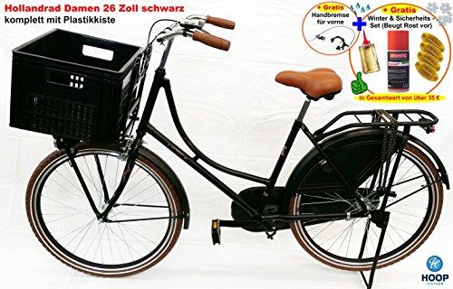 Damen Hollandrad London 26 Zoll schwarz + Handbremse + Kiste + Winterset