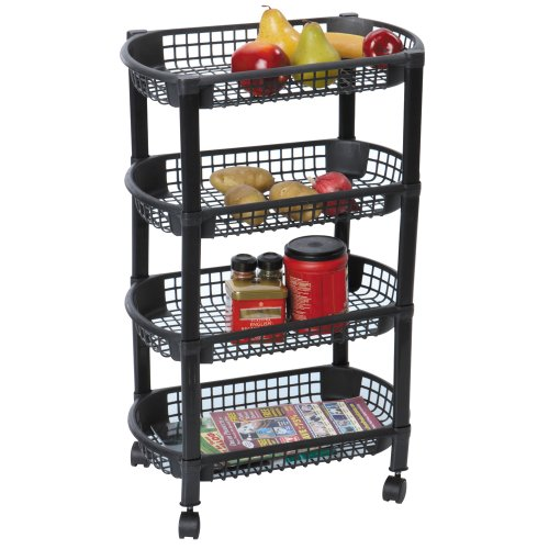Mbr Industries St-31510 4-Tier Rolling Kitchen Cart - Black front-629590