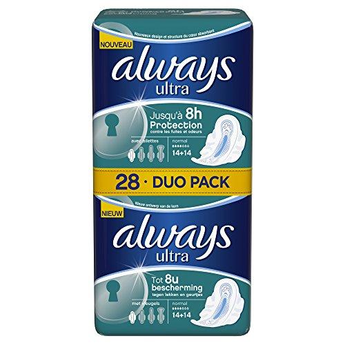 Sempre lungamente più Duo Pack assorbenti con le ali, normale, 28 pezzi per confezione, 2 confezioni