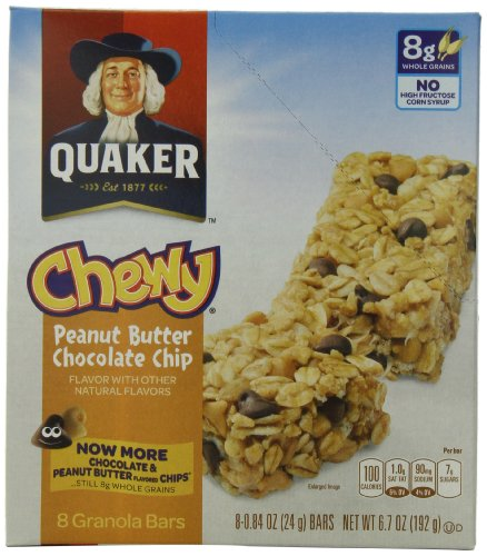 Quaker Chewy Granola Bar, Peanut Butter Chocolate Chip, 8-Count Bars (Pack of 12)
