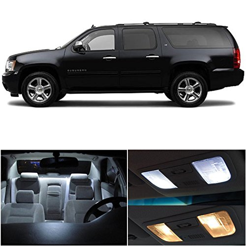 Chevy Suburban 2007 & Up Xenon White Premium Led Interior Lights Package Kit (8 Pieces)