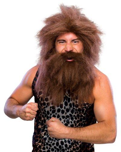 原始人 ウィッグ、かつらとひげのセット ブラウン 男性用