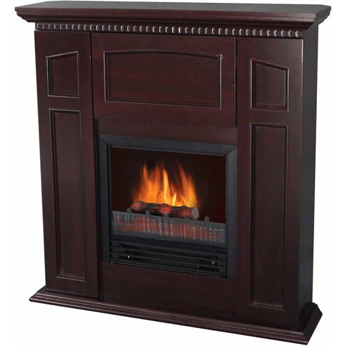 "Home Electric Fireplace W/36"" Mantle & Storage, Chestnut, Realistic Flame Effect"