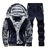 Plus Size Winter Men Fur Lined Hoodies Sweatshirts Pants Set Jogging Sport...