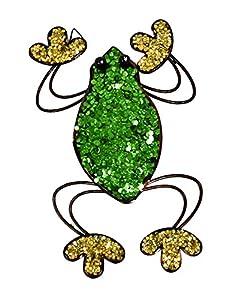 east2eden Colourful Glitter Metal Wide Frog Wall Art Garden Ornament Decoration
