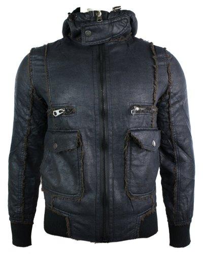 Mens Slim Fit Winter Warm Fleece Lined Hoodie Hooded Jacket Top Black Bomber