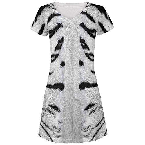White Siberian Tiger Costume All Over Juniors V-Neck Dress
