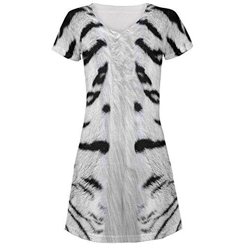 [White Siberian Tiger Costume All Over Juniors V-Neck Dress - Medium] (Cute Tiger Costumes Women)