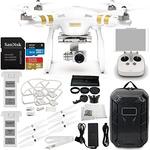 DJI Phantom 3 Professional Drone w/ 4K Camera, 3-Axis Gimbal & Manufacturer Accessories + DJI Battery + Water-Resistant Hardshell Backpack + 7PC Filter Kit (UV-CPL-ND2-400-Lens Hood-Stabilizer) + MORE