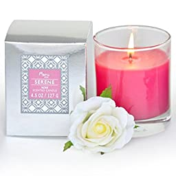 Manu Home SERENE Rose Scented Aromatherapy Candle ~ Infused with Tuberose to Enhance the Serene Floral Notes and Color ~ Beautiful Floral Scent ~ Made with Quality Aromatherapy Oils ~ Great for Any Home Décor ~ Perfect Mother\'s Day Gift!! Natural Wax ble