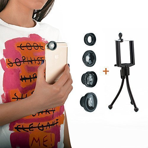 iPhone Lens 4 in 1 Magnetic Kit FishEye 180 Degree & 0.67 Wide Angle & Telephoto Zoom In 2x & Macro for iPhone 6 6+ 6S 5C/S 5 Android SmartPhones + With Free Bonus Tripod & Soft Microfiber Cloth