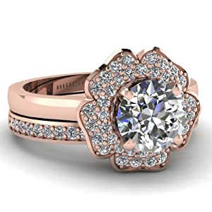 1 Ct Round Cut Diamond Flora Halo Engagement Wedding Rings Pave Set Gold 14K GIA
