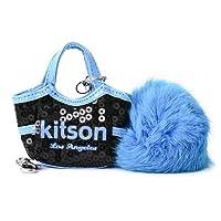 KITSON キットソン 携帯ストラップ キーホルダー KCH0020 BLACK/BLUE ブラック×ブルー スパンコール ボンボン付き 並行輸入品