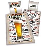 Herding 445969050 Bettwäsche Bier, Kopfkissenbezug: 80 x 80 cm + Bettbezug: 135 x 200 cm, 100 % Baumwolle, Renforce