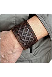 Antique Men's Brown Leather Cuff Bracelet, Leather Wrist Band Wristband Handcrafted Jewelry SL2259