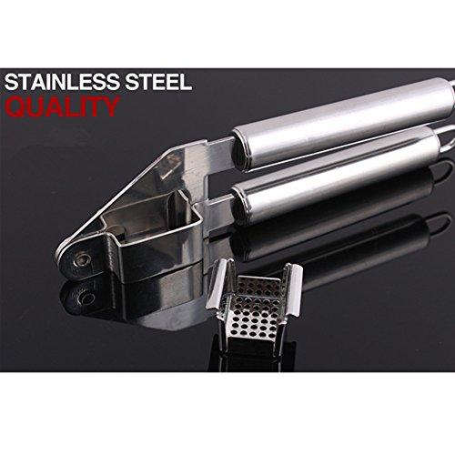 Just Life Stainless Steel Garlic Press Zinc Alloy Garlic Crusher Slicer Kitchen Tool (Stainless Steel)