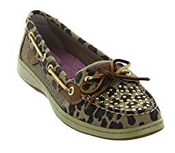 Sperry Top-Sider Women\'s Angelfish Studded,Tan Leopard Suede/Studded,US 6.5 M