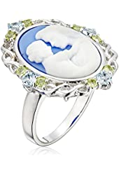 Sterling Silver Blue Topaz, Peridot and Blue Cameo Ring, Size 7