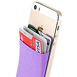 Sinjimoru B2 Stick-On Wallet making Your iPhone or iPhone case into iPhone Wallet Case, iPhone Card Case and iPhone case with a card holder for iPhone 6 / 6 plus / 5 / 5s / 5c / 4 / 4s. Android Smartphones, too. Sinji Pouch Basic 2, Violet.