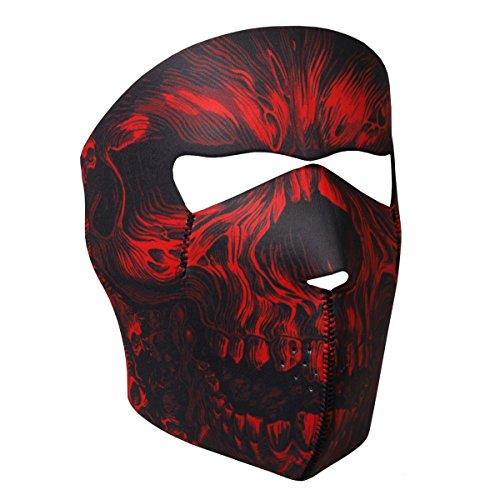 Hot Leathers Bikers Full Protection RED SHREDDER SKULL NEOPRENE FACE MASK, with Velcro Back Closure (Hot Leathers Face Mask compare prices)