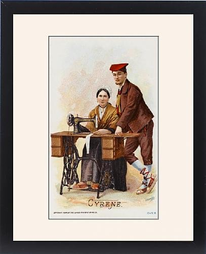 Framed Print Of Couple From Cyrene, Libya With Their Singer Sewing Machine